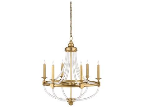 Wildwood Lamps Antique / Clear Six-Light 28'' Wide Medium Chandelier WL67343