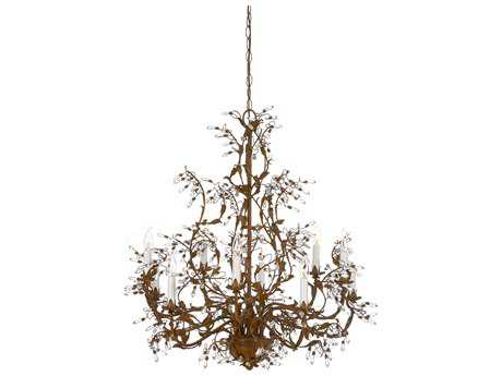Wildwood Lamps Rust Patina On Iron Lead Crystal Buds Ten-Light 32'' Wide Chandelier WL7750