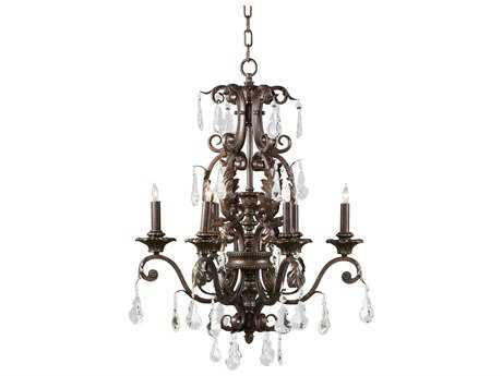 Wildwood Lamps Iron With Crystal Drops Six-Light Chandelier WL9356