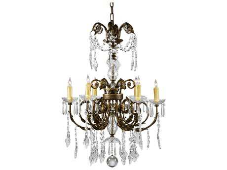 Wildwood Lamps Iron With Crystal Drops Six-Light Chandelier WL9359