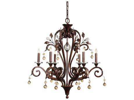 Wildwood Lamps Antique Iron With Crystal Six-Light Chandelier WL9362