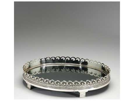Wildwood Lamps Solid Brass Antique Silver Mirrored And Footed Oval Tray WL300337