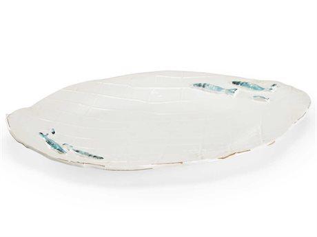 Wildwood Lamps Antique White / Blue Green Glaze Decorative Plate WL301696