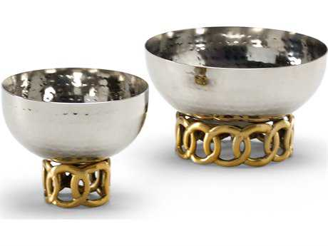 Wildwood Lamps Celtic Rings Hammered Steel Brass Stand Bowl Decorative Bowl (Set Of Two) WL294325