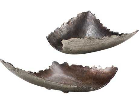 Wildwood Lamps Shaded Jagged Dish Aluminum Pewter And Bronze Decorative Plate (Set Of Two) WL294374