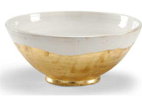Wildwood Lamps Centrepiece White Glaze Metallic Gold Euro Ceramic Bowl Decorative Bowl WL295202