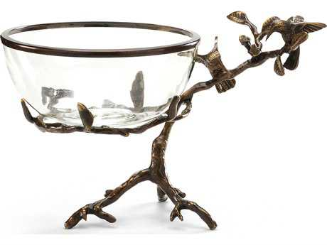 Wildwood Lamps Hummingbirds On Branch Cast Brass Old Bronze Patina Crystal Brass Rim Decorative Plate