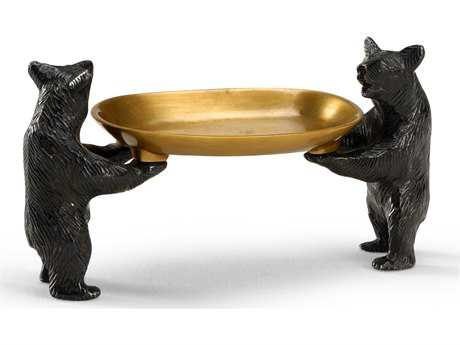 Wildwood Lamps Bears Bearing Dish Solid Cast Brass Antique Patina Decorative Plate WL300528
