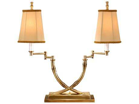 Wildwood Lamps Crossed Bamboo Patina On Solid Brass Moveable Arms Two-Light Desk Lamp WL1158