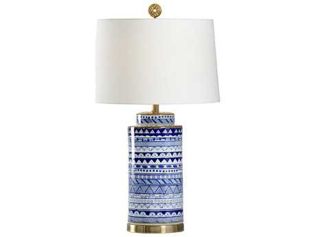 Wildwood Destin Blue And White And Antique Brass Buffet Lamp WL13153