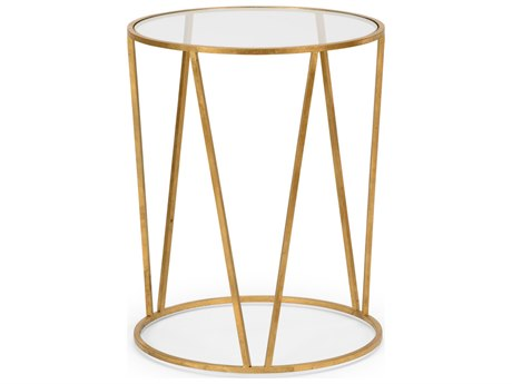 Wildwood Lamps Emery Antique Gold Leaf And Clear 20'' Round Side Table