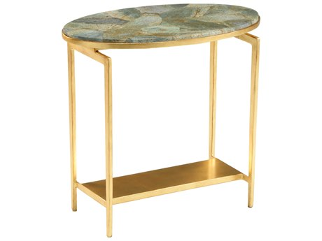 Wildwood Lamps Natural Malachite / Antique Gold Leaf 24'' Wide Oval End Table