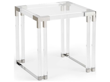 Wildwood Lamps Clear / Polished Nickel 23'' Wide Square End Table