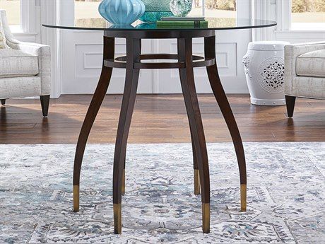 Wildwood Lamps Walnut / Clear 42'' Wide Round Foyer Table WL490214