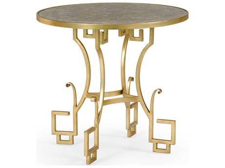Wildwood Lamps Natural Grey Capiz / Gold 30'' Wide Round Foyer Table WL490265