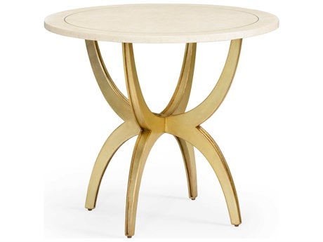 Wildwood Lamps Natural White / Gold 32'' Wide Round Foyer Table WL490267