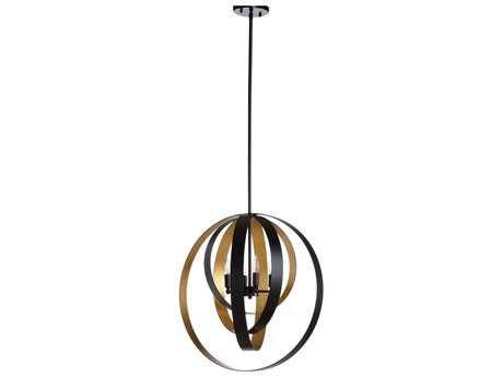 Wildwood Gyro Black And Antique Gold Leaf Four-Light 24'' Wide Chandelier WL67167
