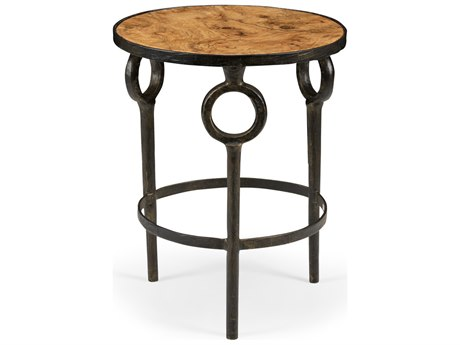 Wildwood Lamps Hudson Bronze And Faux Burl Wood 20'' Round Side Table WL490091