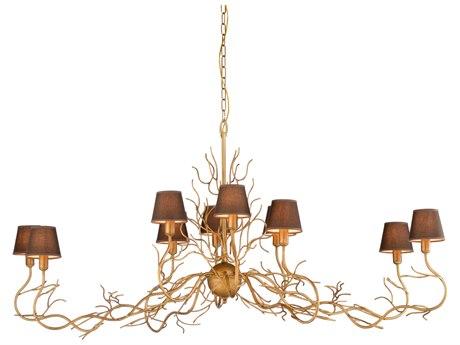 Wildwood Lamps Antique Gold / Brown Silkette Ten-Light 65'' Wide Island Light WL67317