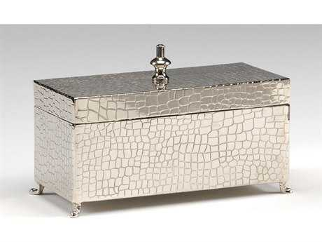Wildwood Lamps Footed Solid Brass Hide Detail And Nickel Plated Jewelry Box WL300390