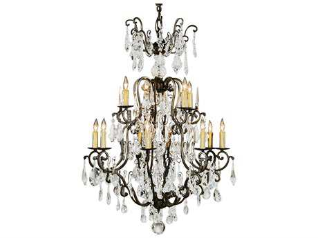 Wildwood Lamps Iron Old Gold On Iron Lead Crystal 12-Light 33'' Wide Chandelier WL1163