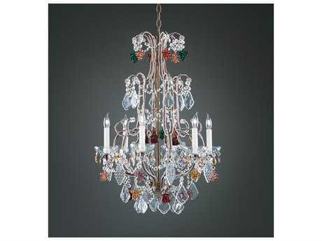 Wildwood Lamps Crystal Fruits Bronze Lead Crystal Six-Light Chandelier WL2247