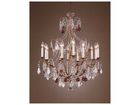Wildwood Lamps Beaded Crystals French Gold Polychrome Crystals 12-Light Chandelier WL2898