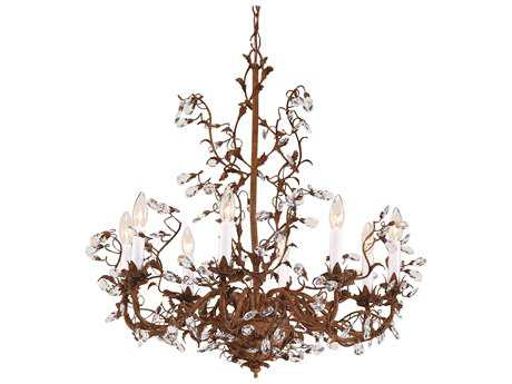 Wildwood Lamps Little Crystals Iron And Brass Lead Crystal Eight-Light Chandelier WL7724