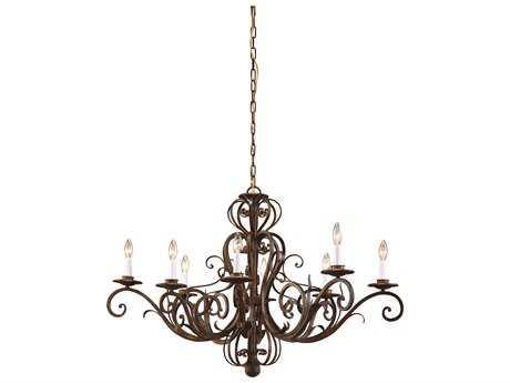 Wildwood Lamps Iron Oval Iron Worn Iron Hints Of Gold Eight-Light Chandelier WL7734