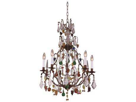 Wildwood Lamps Crystal Fruits Bronze Muraon Seven-Light Chandelier WL7740