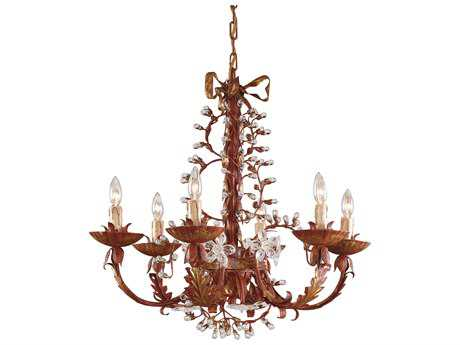 Wildwood Lamps Polychrome Iron Crystal Buds Crystal Rosettes Six-Light Chandelier WL7749
