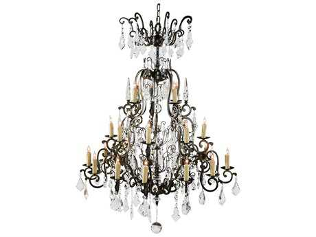 Wildwood Lamps Bronzed Iron With Crystal Drops 24-Light Chandelier WL9382