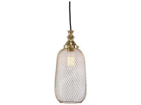 Wildwood Lipton Antique Brass 6.5'' Wide Mini-Pendant Light WL67071