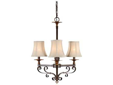 Wildwood Lucca Old Bronze Patina On Iron Three-Light 17'' Wide Mini-Chandelier WL67016