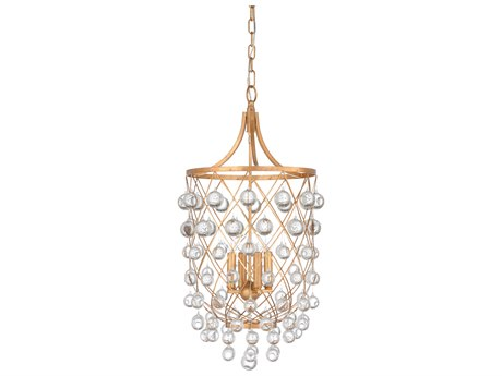 Wildwood Lamps Antique Gold Leaf / Clear Four-Light 15'' Wide Crystal Mini Chandelier