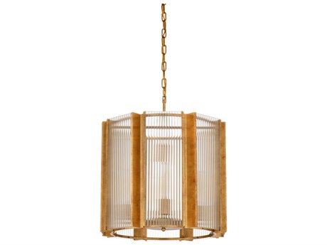 Wildwood Lamps Antique Gold Leaf,clear Fluted Eight-Light 21'' Wide Glass Mini Chandelier WL67202