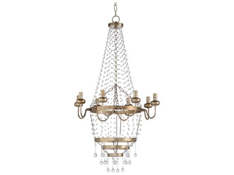 Wildwood Lamps Antique Silver Leaf / Clear Eight-Light 22'' Wide Crystal Mini Chandelier WL67229