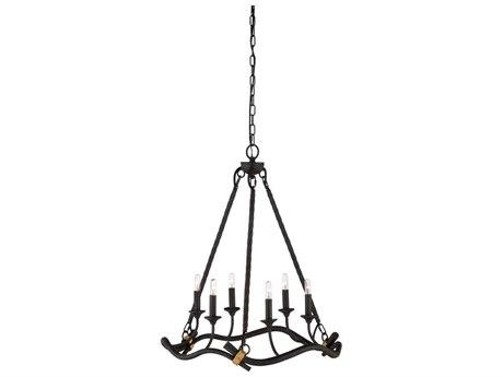Wildwood Lamps Slate Gray / Gold Six-Light 23'' Wide Mini Chandelier WL67331