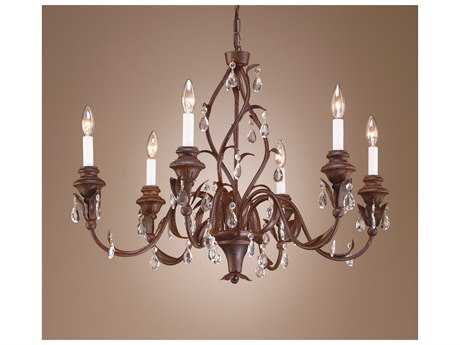 Wildwood Lamps Wood And Crystals Old Wood And Iron Lead Crystals Six-Light Chandelier WL7728