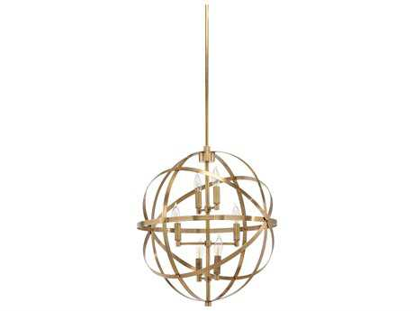 Wildwood Orbit Antique Brass Six-Light 22'' Wide Pendant Light WL67061