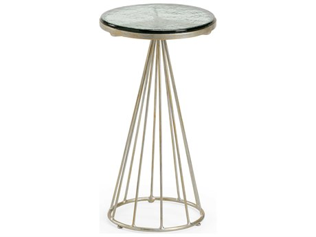 Wildwood Lamps Green / Antique Silver 11'' Wide Round Pedestal Table WL490336