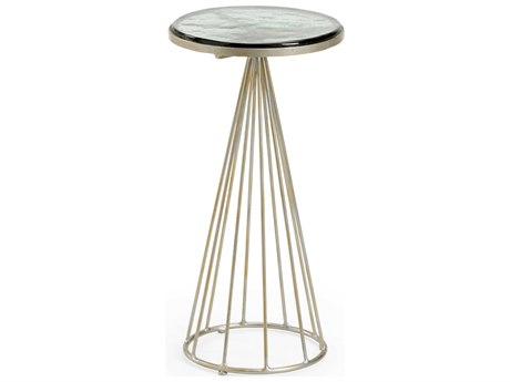 Wildwood Lamps Green / Antique Silver 11'' Wide Round Pedestal Table WL490337
