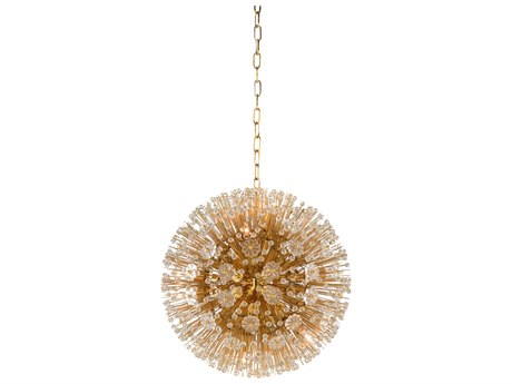 Wildwood Lamps Brass Plated / Clear Ten-Light 20'' Wide Crystal Pendant WL67231