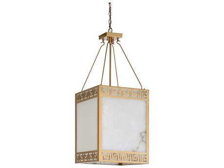 Wildwood Lamps Antique Brass / Natural White Four-Light 16'' Wide Pendant WL67243