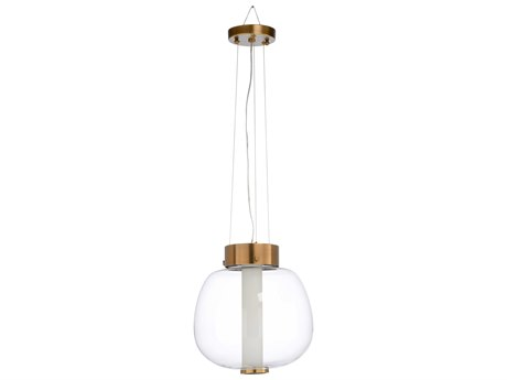 Wildwood Lamps Clear / Antique Brass One-Light 13'' Wide Glass Pendant WL67287