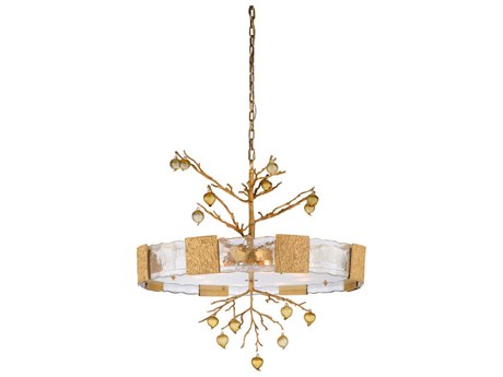 Wildwood Lamps Amber / Clear Gold Eight-Light 36'' Wide Glass Pendant WL67323
