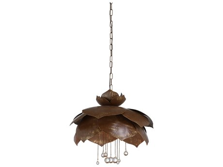 Wildwood Lamps Brown / Gold Clear Six-Light 30'' Wide Crystal Pendant WL67340