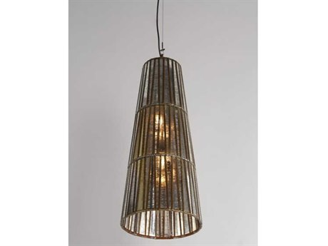 Wildwood Lamps Antique Silver / Copper One-Light 12'' Wide Glass Pendant WL67358