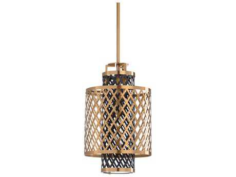 Wildwood Sabine Antique Brass And Black 12'' Wide Pendant Light WL67135