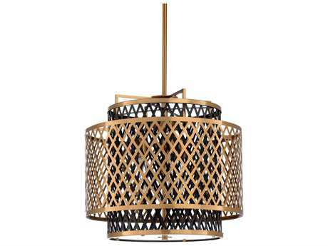 Wildwood Sabine Antique Brass And Black Three-Light 22'' Wide Pendant Light WL67136
